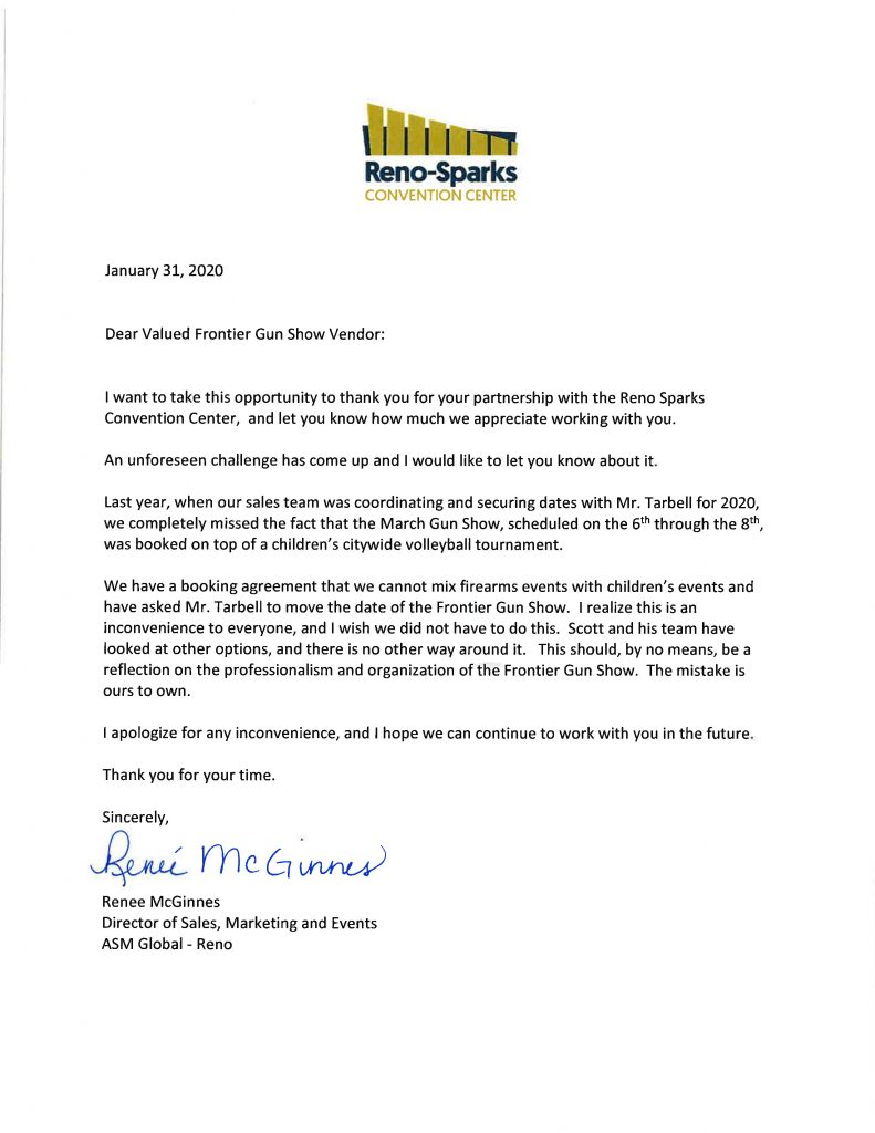 Reno-Sparks Apology Letter